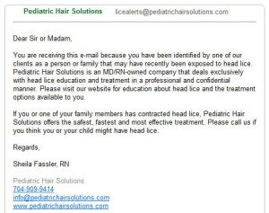 Sample Lice Alert Email
